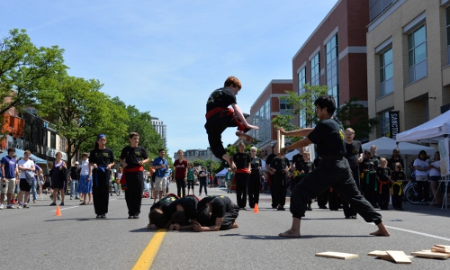 Photo of WKFA Martial Arts Demonstration Team performs at Open Streets Waterloo Ontario