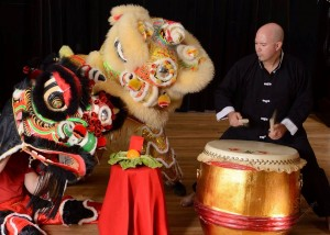 lion dance with drummer